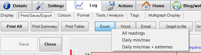 eTemperature Excel Export