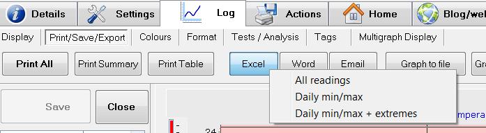 eTemperature Excel Export