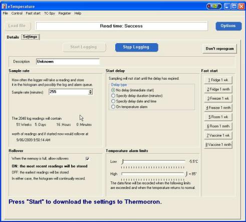 eTemperature Sample Rate Configuration